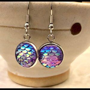 Shimmery Blue Pink Mermaid Scale Dangle Earrings
